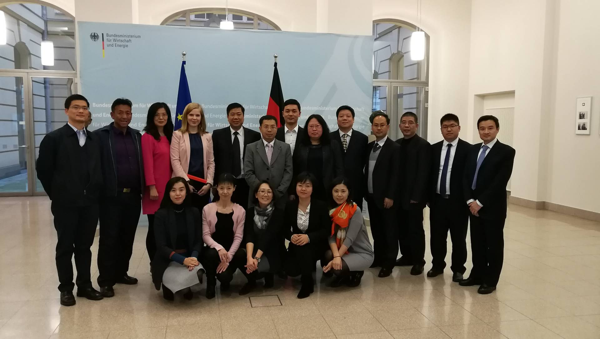 Group photo of Chinese delegation at BMWi.